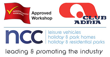 ncc approved workshop scheme club adria logos